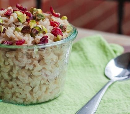 Breakfast Rice Cereal with Pistachios and Cranberries