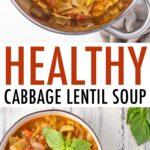 Pot and bowls wil cabbage lentil soup.