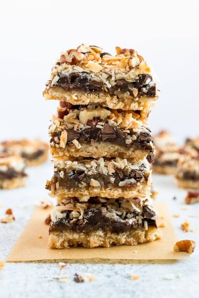 eebaffc23be6 A stack of healthier magic cookie bars. An almond flour coconut crust
