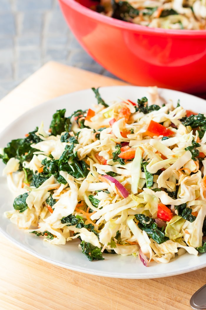 All the flavors of pad thai in salad form, this Kale and Cabbage Pad Thai Salad is my take on the Sweet and Spicy Kale Pad Thai from Whole Foods.