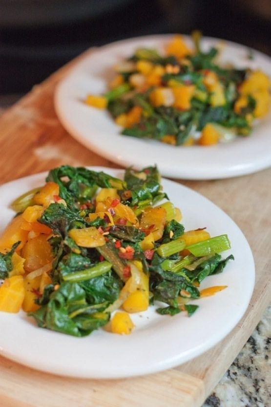 Sautéed Beet Greens with Roasted Beets - Eating Bird Food