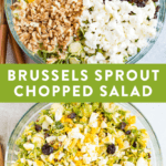 Chopped brussel sprout salad with toppings (feta, walnuts, egg and cranberries) chopped and un chopped.