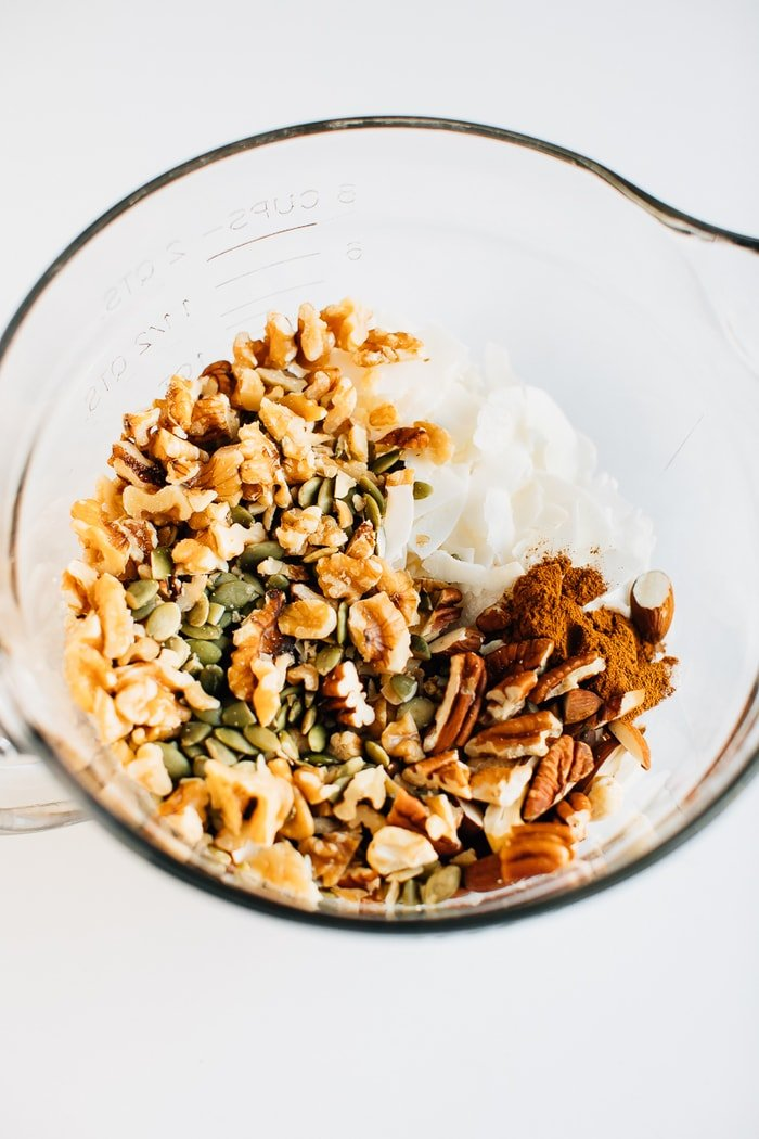 All the ingredients for grain-free granola in a bowl.