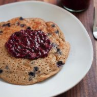Blueberry Protein Pancake with Chia Seed Jam