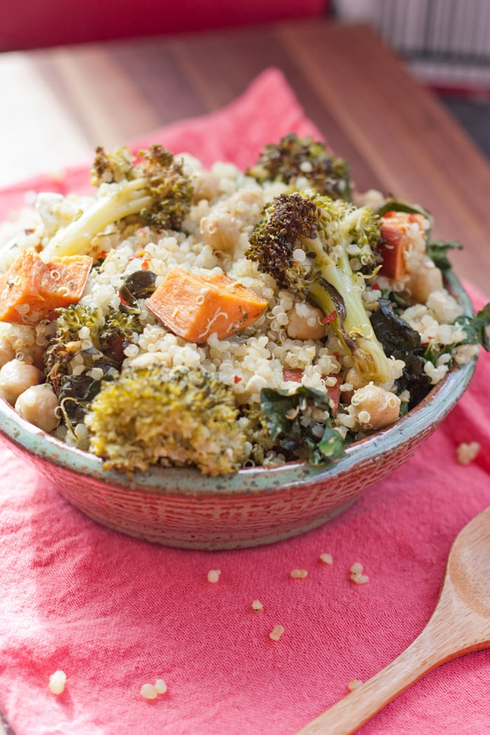 Roasted Broccoli and Kale Quinoa Salad