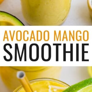 Glasses of avocado mango smoothies garnished with coconut flakes and lime slices.