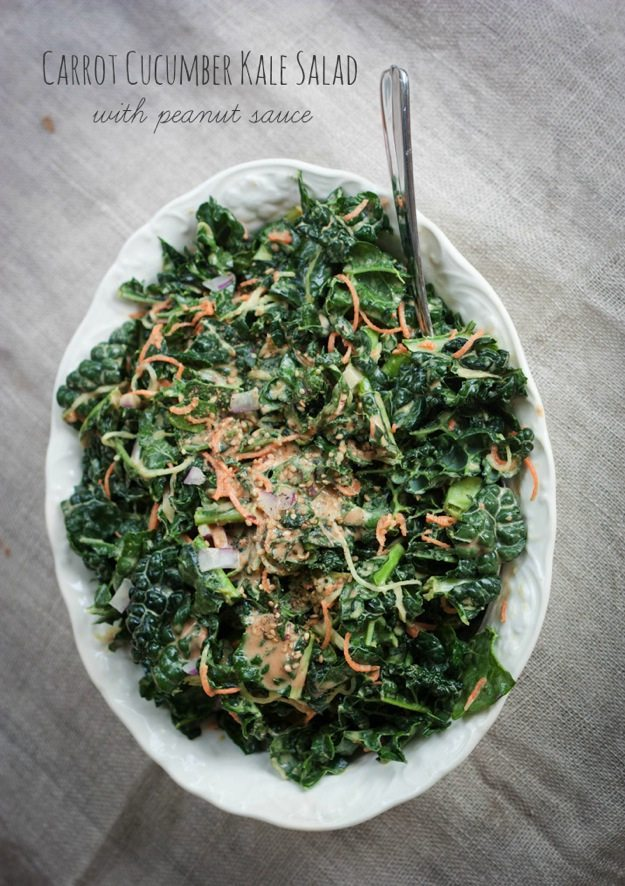 Carrot Cucumber Kale Salad with Peanut Sauce #glutenfree #vegan