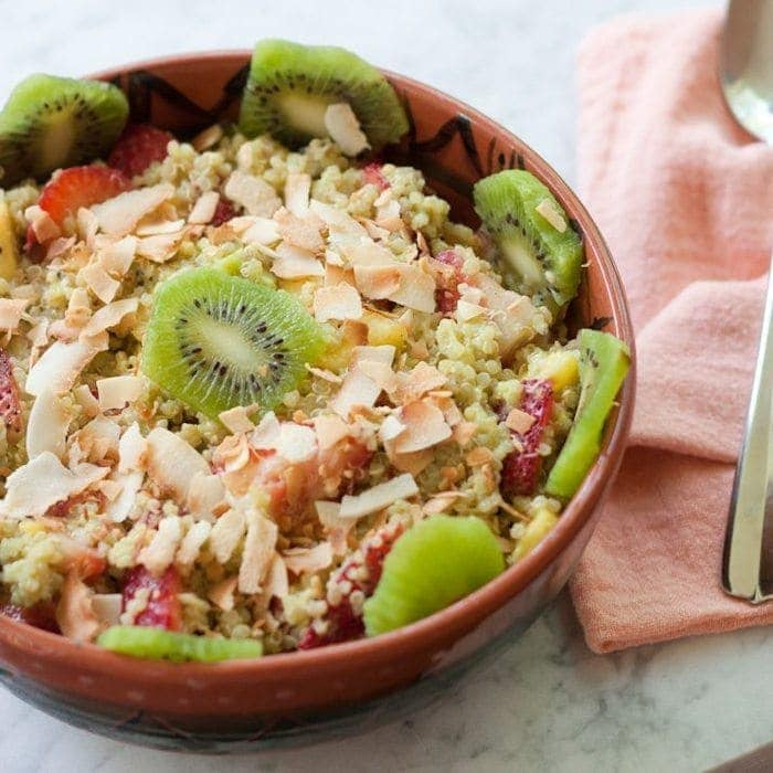 Quinoa Fruit Salad with Toasted Coconut Flakes - Eating Bird Food