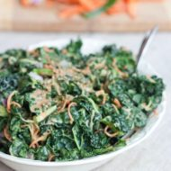Spiralized Carrot and Cucumber Kale Salad with Peanut Sauce