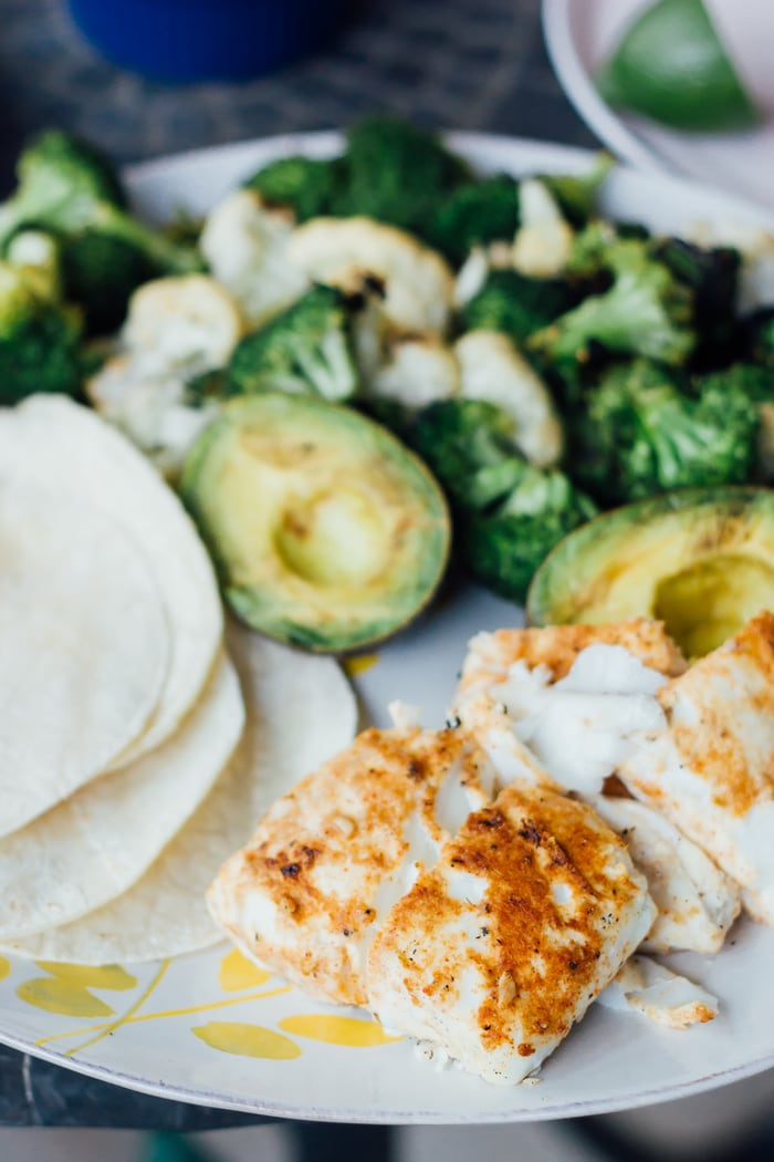 Clean Eating Grilled Fish Tacos with Grilled Veggies