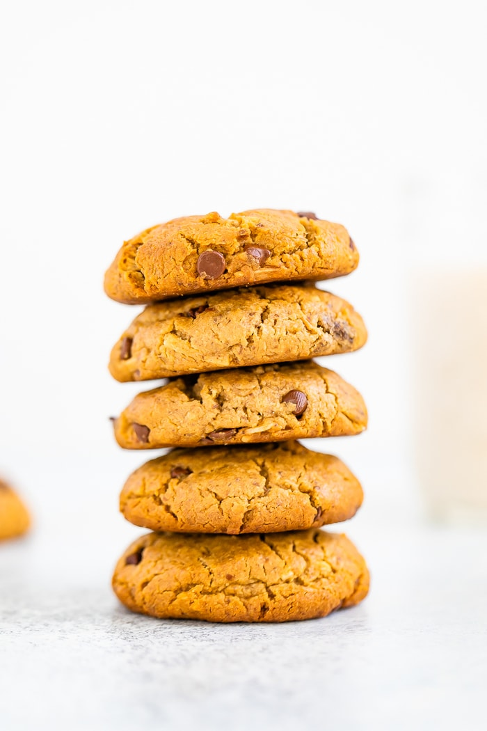 Stack of chocolate chip tahini cookies.