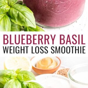 Glass jar with blueberry basil smoothie. Second photo of lemon, almond butter, flaxseed, almond milk, Greek yogurt, basil, frozen banana and frozen blueberries measured out.