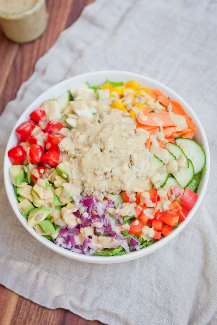 Kaleidoscope Salad with Curried Hummus Dressing