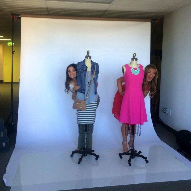 Photoshoot behind mannequins