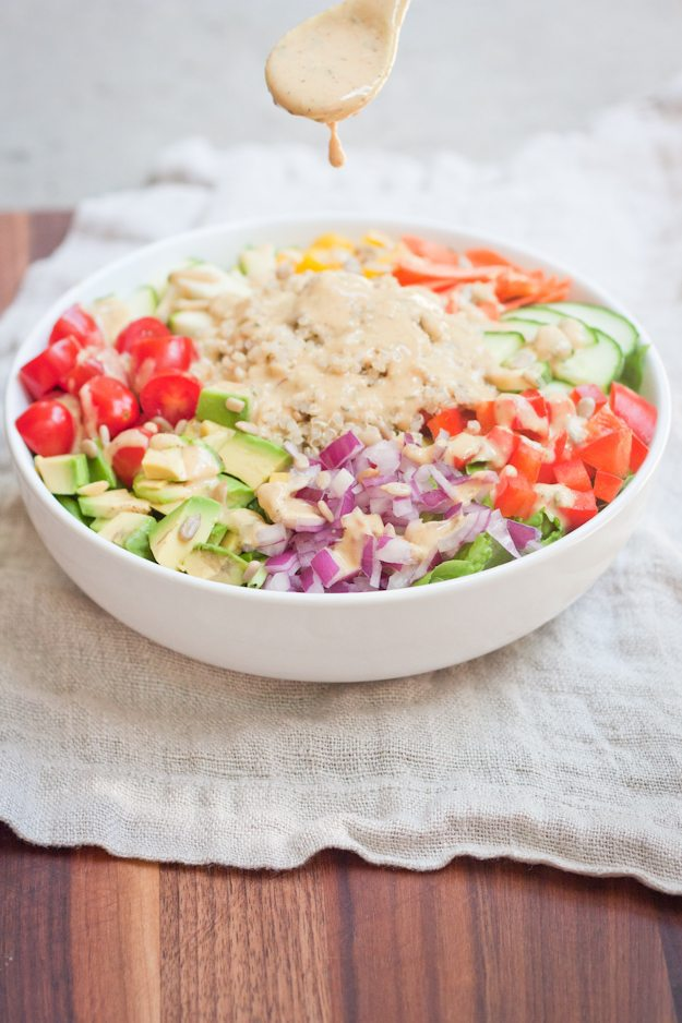 How to make the BEST curried hummus dressing plus a delicious rainbow kaleidoscope salad!