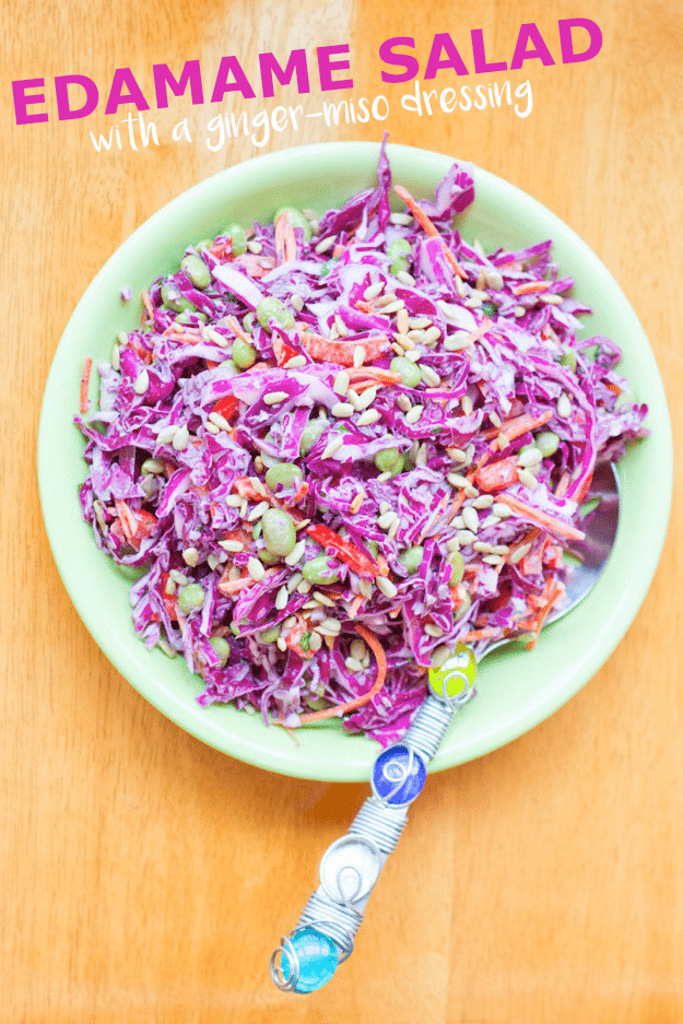 This edamame salad is like an Asian coleslaw with crunchy cabbage, carrots, peppers and a ginger-miso dressing!
