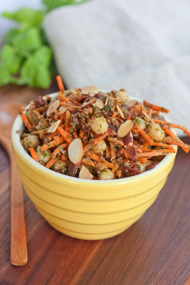 Healthy Carrot Salad with Chickpeas, Quinoa and Raisins