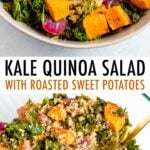 Two photos of the kale quinoa sweet potato salad before being mixed and after being mixed.
