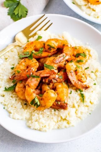 Cauliflower Grits with Blackened Shrimp
