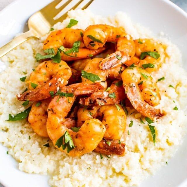 Cauliflower Grits with Blackened Shrimp