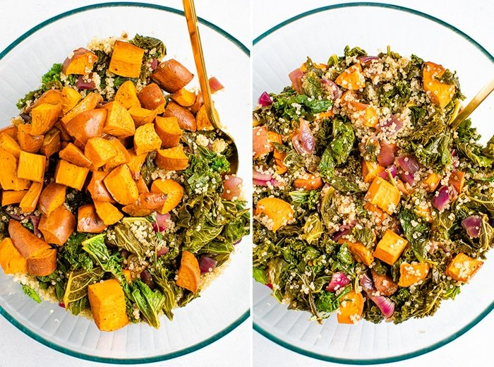 Side by side photos of sweet potato kale quinoa salad ingredients in a bowl before mixing, and one after.