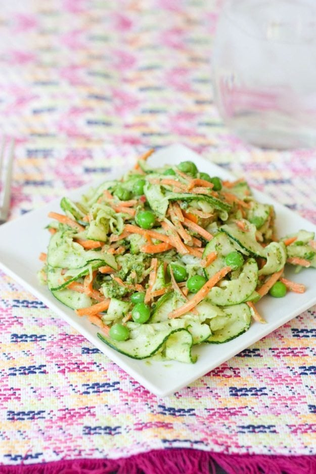 carrot and zucchini noodle pappardelle with pesto