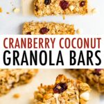 Coconut cranberry granola bars on parchment paper and also stacked.