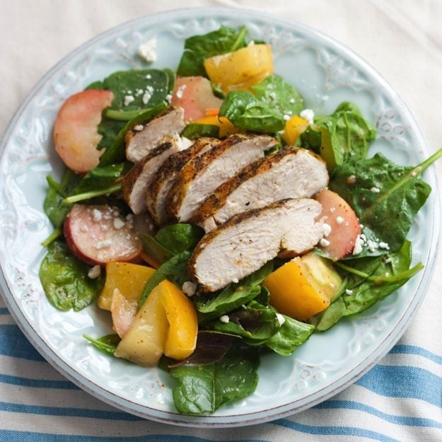 ... Curry Chicken over Spinach Salad with Sliced Donut Peaches and Yellow