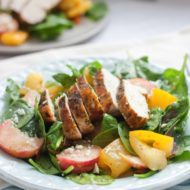 Grilled Curry Chicken Spinach Salad with Peaches