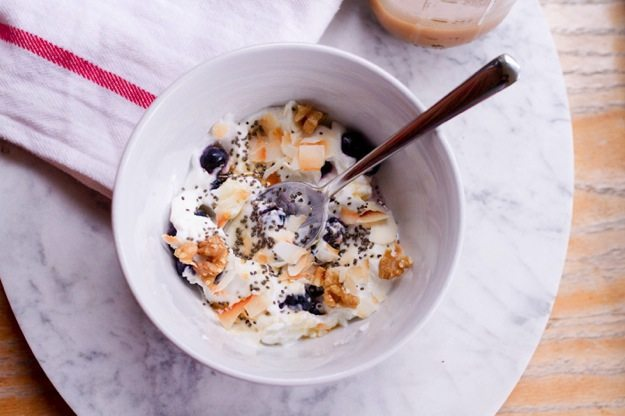 Yogurt Breakfast Bowl with Toasted Coconut, Walnuts, Blueberries and Chia