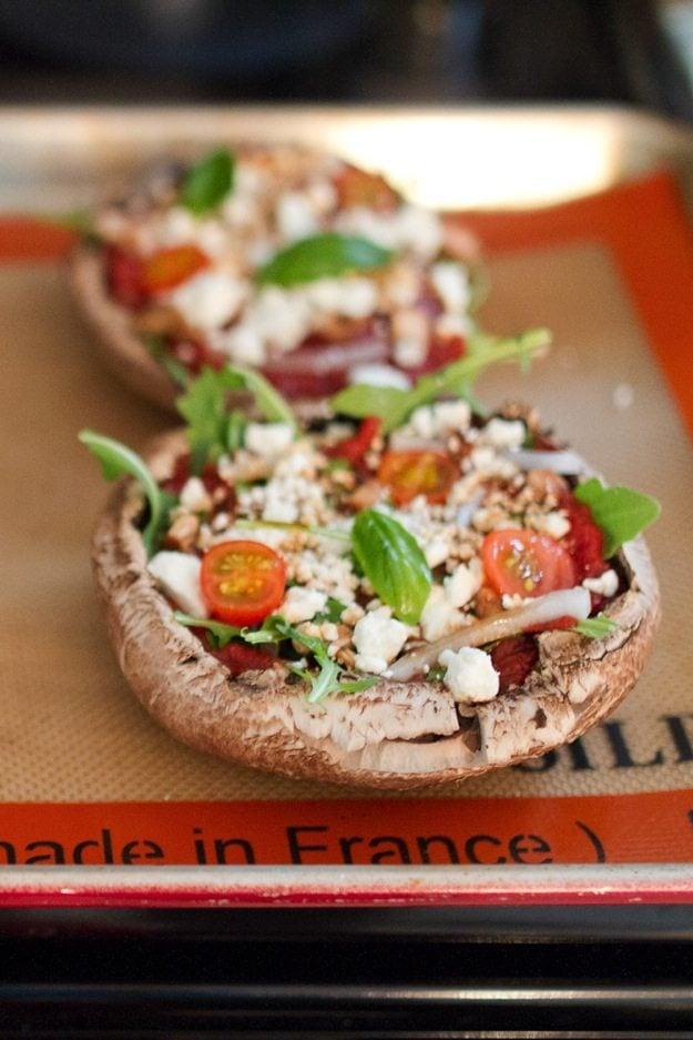 Healthy Goat Cheese and Arugula Portobello Pizzas