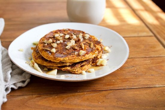 These Pumpkin Apple Oatmeal Protein Pancakes are a great way to start your day. Full of flavor and packed with protein- no protein powder required!
