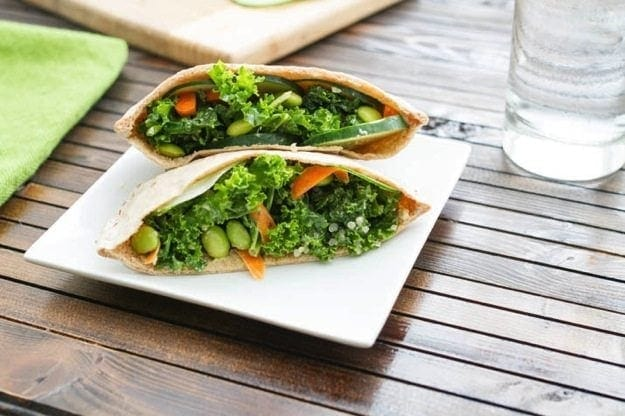 Quick Vegetarian Lunch Idea: Kale Salad Stuffed Pitas