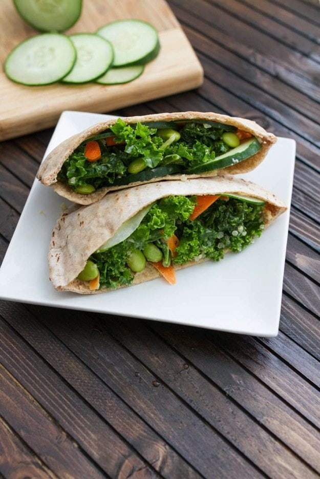 Quick Veggie Lunch Idea: Kale Salad Stuffed Pitas
