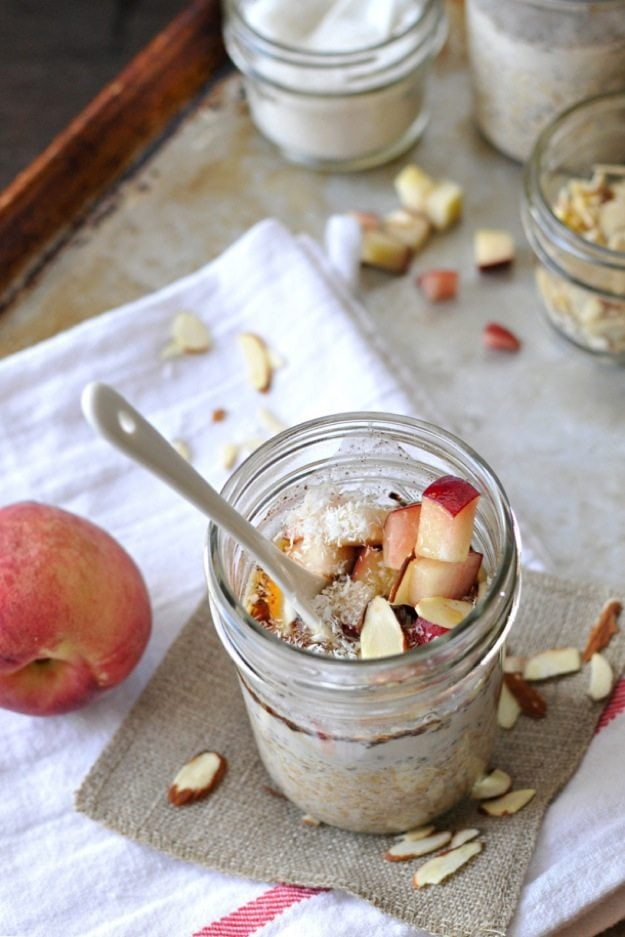 Easy Steel-Cut Overnight Oats (with peaches, almonds, coconut & maple) — the pig & quill