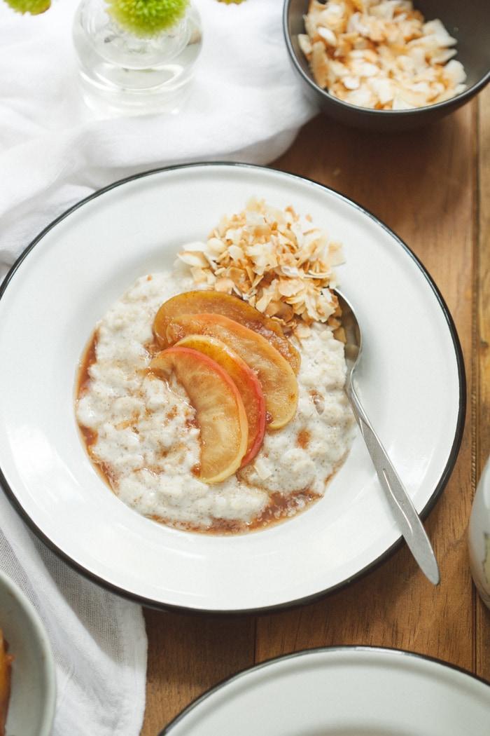 Everyday Oatmeal with Amaranth, Coconut and Maple Sautéed Apples  — 80twenty