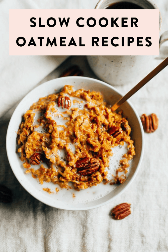 Slow cooker oatmeal recipes. Pumpkin pie slow cooker oats topped with pecans and almond milks.
