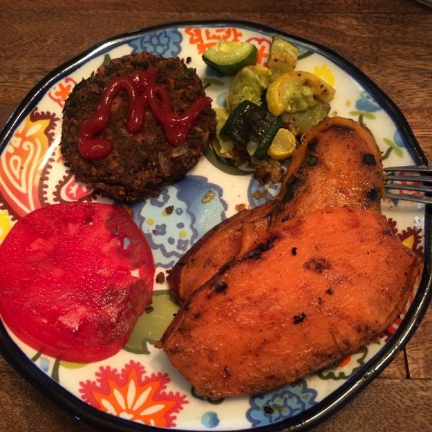 Bean Burgers and Grilled Sweet Potato Slices