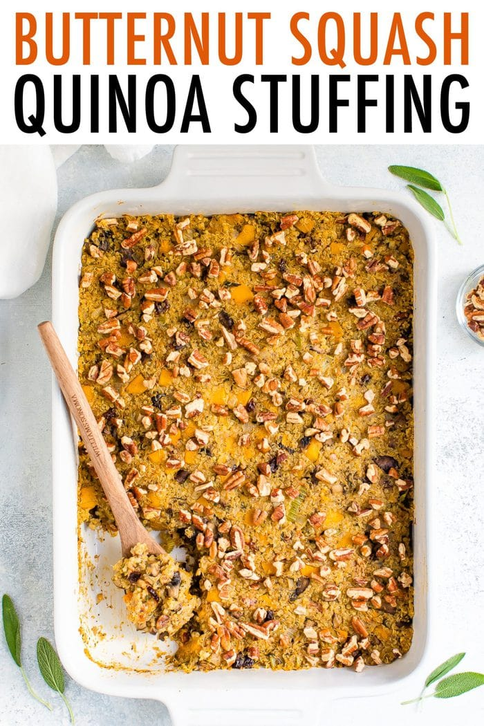 Casserole with baked quinoa stuffing topped with pecans.