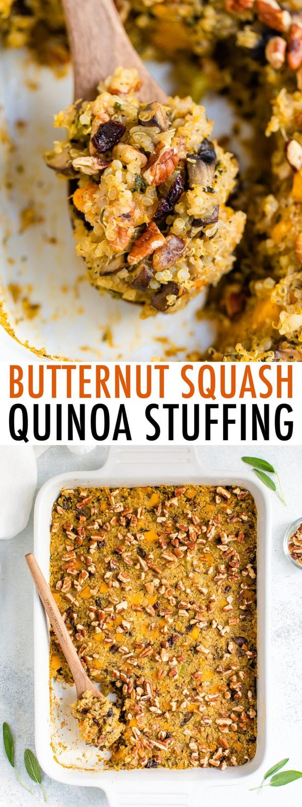 Close up photo of a wooden spoon scooping up stiffening quinoa.  The second photo shows a casserole dish with the butternut squash quinoa stuffing topped with pecans.