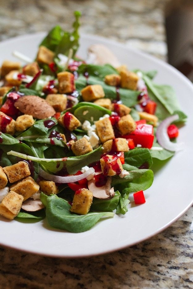Toaster Oven Baked Tofu Over Salad