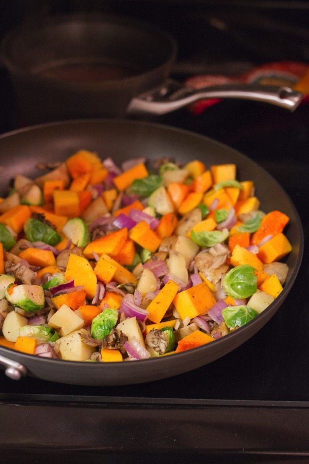 Butternut Hash and Quinoa Cooking