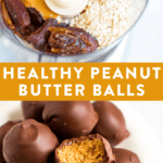 Collage imaged of healthy peanut butter balls-- included it's healthy ingredients in a food processor, and the finished peanut butter balls on a plate.