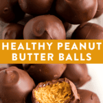 Collage images of healthy peanut butter balls coated in chocolate.