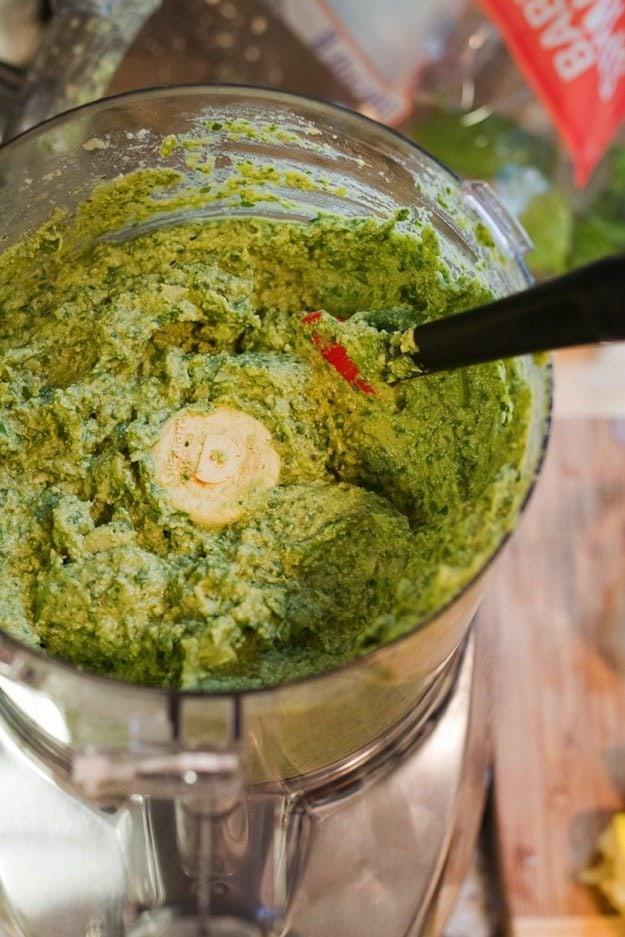 Vegan Spinach Artichoke Dip in the food processor.