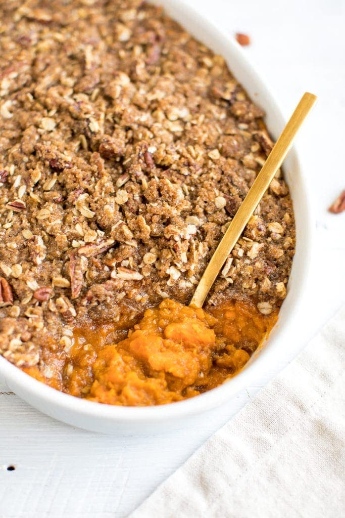 sweet potato casserole with a fork in it