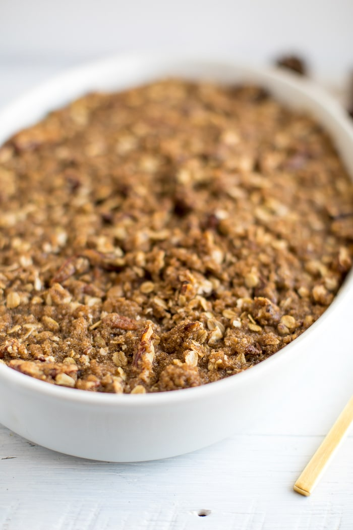 A healthier take on traditional sweet potato casserole with a crunchy pecan topping. It's absolutely delicious, vegan and gluten-free!
