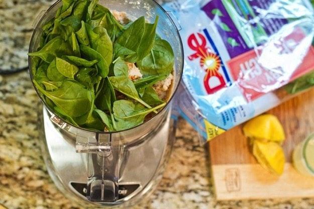 Vegan Spinach Artichoke Dip ingredients in the food processor.