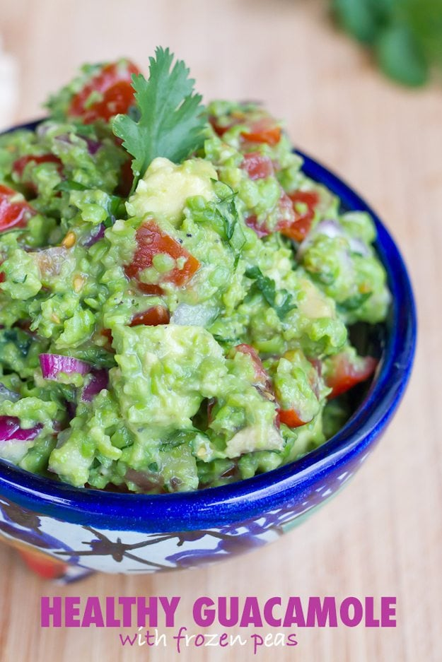 Healthy guacamole made with frozen peas. Lower in calories and fat than regular guac, but tastes just as good!