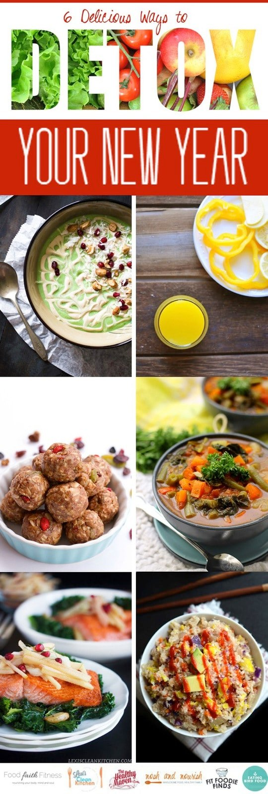 Collage of 6 Delicious Detox Recipes for the New Year